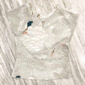 {Waverly Grey} Beautifully Patterned Silk Blouse
